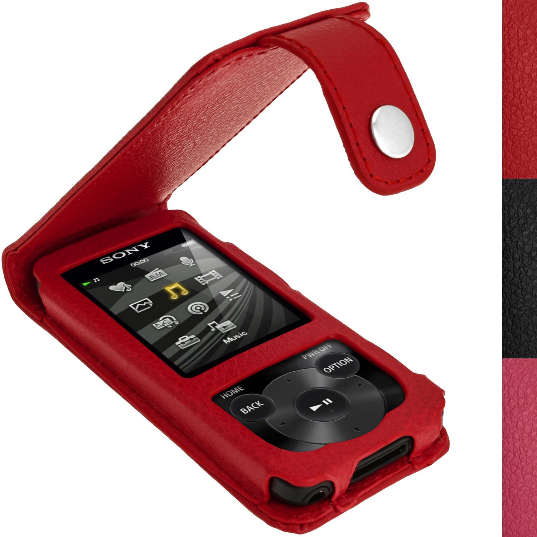 Cuero-Funda-Piel-Carcasa-Case-para-Sony-Walkman-NWZ-E585-Prot-Pantalla-Mosqueton