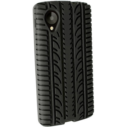 iGadgitz Black Silicone Skin Case Cover with Tyre Tread for LG Google Nexus 5 + Screen Protector Thumbnail 3