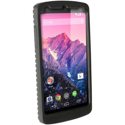 iGadgitz Black Silicone Skin Case Cover with Tyre Tread for LG Google Nexus 5 + Screen Protector Thumbnail 4