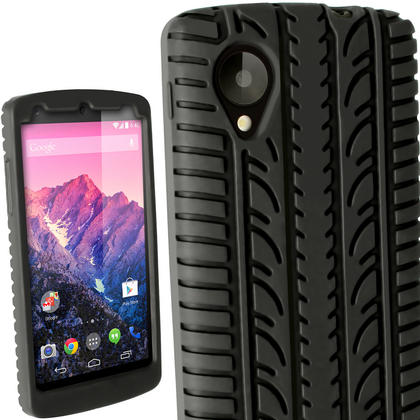iGadgitz Black Silicone Skin Case Cover with Tyre Tread for LG Google Nexus 5 + Screen Protector Thumbnail 1