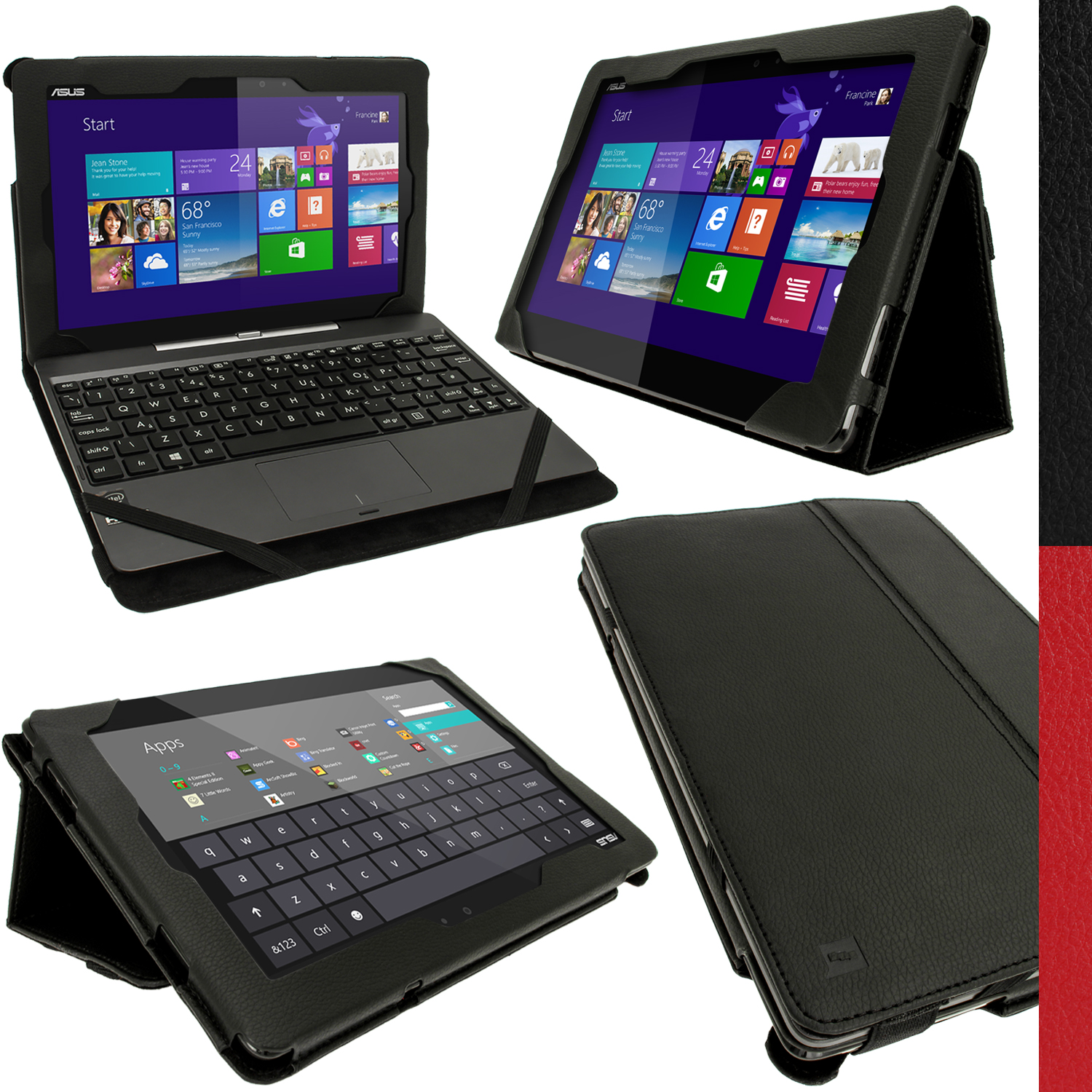 iGadgitz PU Leather Case for Asus Transformer Book T100T Tablet & Keyboard Dock with Sleep/Wake (various colours)