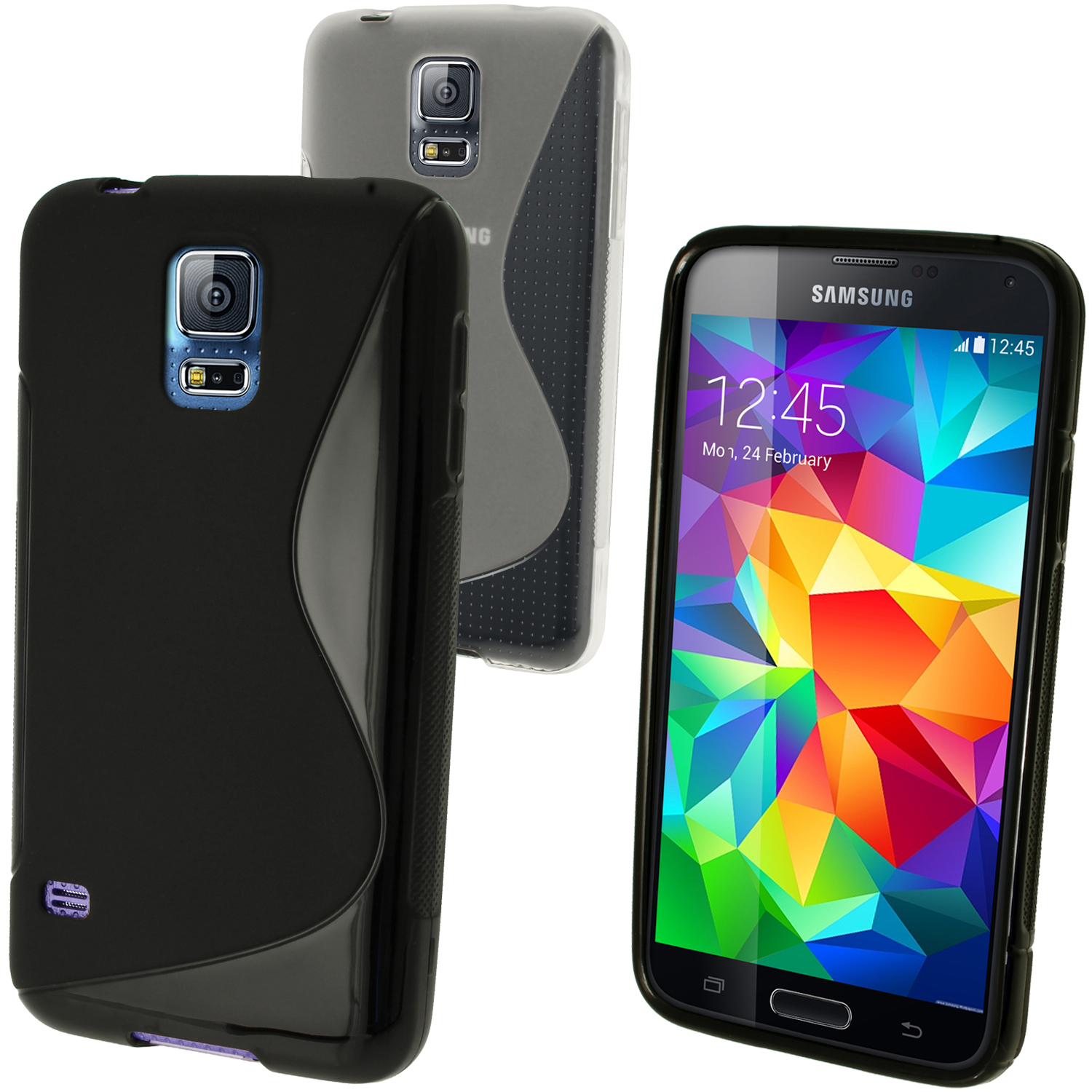 iGadgitz S-Line TPU Gel Skin Case Cover for Samsung Galaxy S5 SV SM-G900 + Screen Protector (various colours)