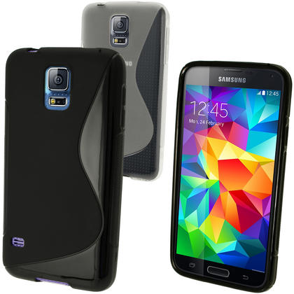 iGadgitz S-Line TPU Gel Skin Case Cover for Samsung Galaxy S5 SV SM-G900 + Screen Protector (various colours) Thumbnail 1