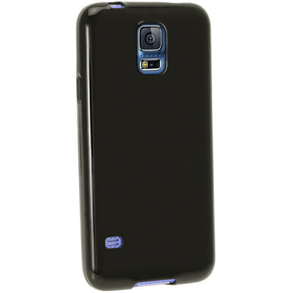 iGadgitz Black Glossy Gel Skin Case Cover for Samsung Galaxy S5 SV SM-G900 + Screen Protector Thumbnail 4