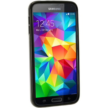 iGadgitz Black Glossy Gel Skin Case Cover for Samsung Galaxy S5 SV SM-G900 + Screen Protector Thumbnail 3
