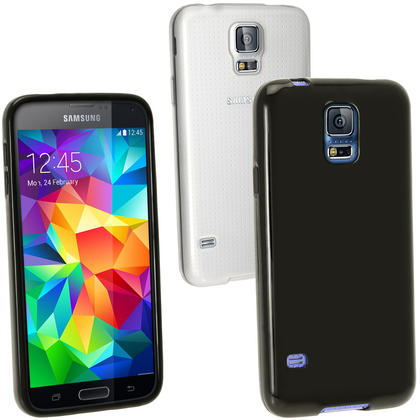 iGadgitz Black Glossy Gel Skin Case Cover for Samsung Galaxy S5 SV SM-G900 + Screen Protector