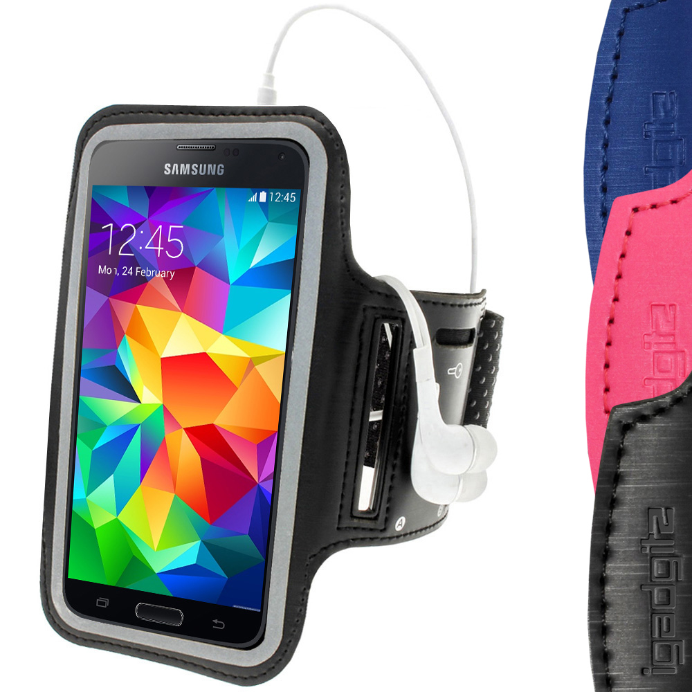 iGadgitz Anti-Slip Reflective Neoprene Armband for Samsung Galaxy S5 SV SM-G900 Jogging (various colours)