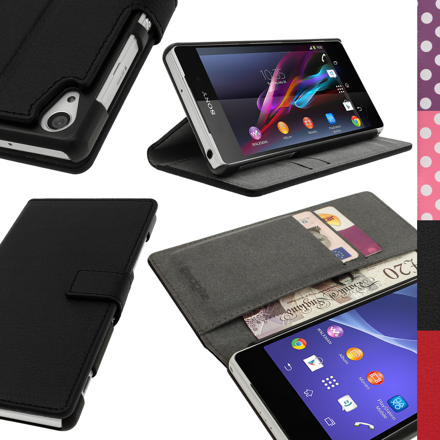 size 40 b48e4 6cf2c PU Leather Skin Card Wallet Case for Sony Xperia Z2 D6503 Flip Stand Book  Cover