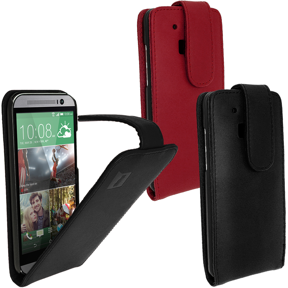 iGadgitz Genuine Leather Flip Case Cover Holder for HTC One M8 2014 + Screen Protector (various colours)
