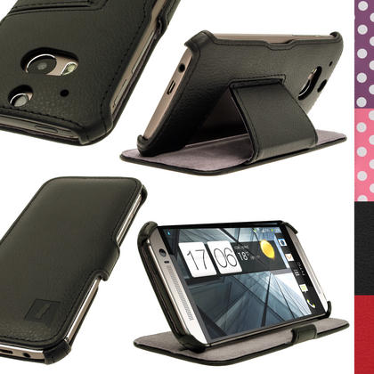 iGadgitz PU Leather Skin Case Cover Holder for HTC One M8 2014 + Sleep/Wake & Screen Protector (various colours) Thumbnail 1