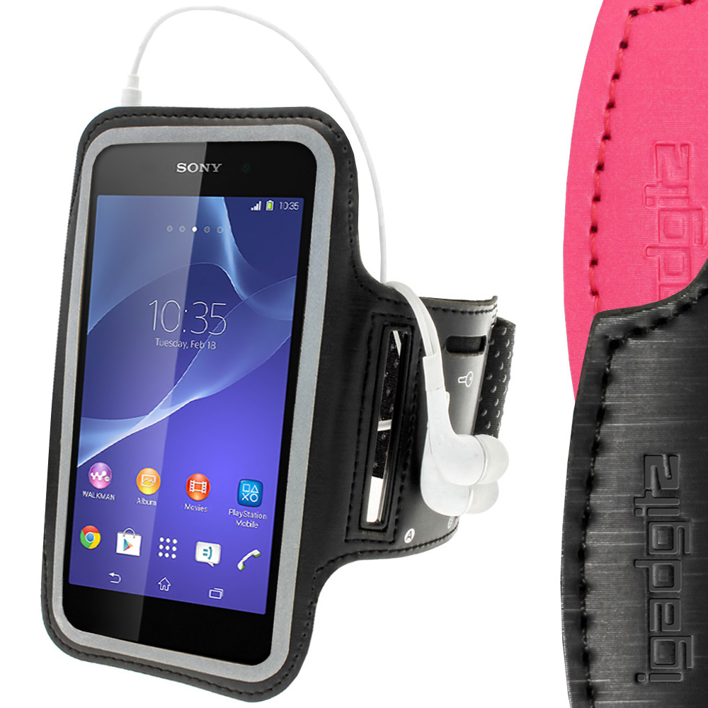 iGadgitz Reflective Anti-Slip Black Sports Jogging Gym Armband for  Sony Xperia Z2 D6503, Z3 D6603 & Z3+ E6553