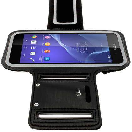 iGadgitz Reflective Anti-Slip Black Sports Jogging Gym Armband for Sony Xperia M4 Aqua with Key Slot Thumbnail 6