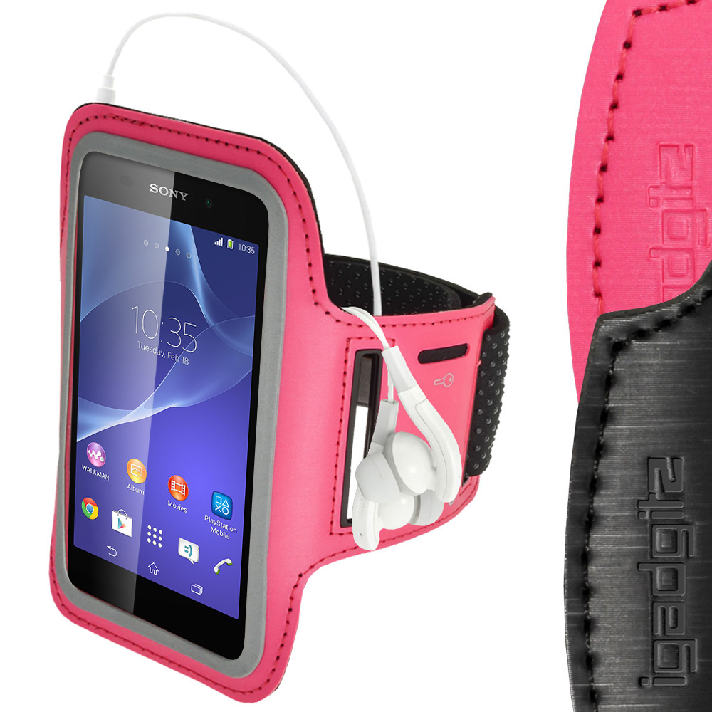 iGadgitz Reflective Anti-Slip Pink Sports Jogging Gym Armband for Sony Xperia M4 Aqua with Key Slot