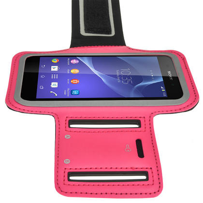 iGadgitz Reflective Anti-Slip Pink Sports Jogging Gym Armband for Sony Xperia M4 Aqua with Key Slot Thumbnail 6