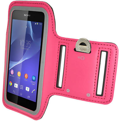 iGadgitz Reflective Anti-Slip Pink Sports Jogging Gym Armband for Sony Xperia M4 Aqua with Key Slot Thumbnail 3