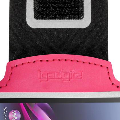 iGadgitz Reflective Anti-Slip Pink Sports Jogging Gym Armband for Sony Xperia M4 Aqua with Key Slot Thumbnail 4