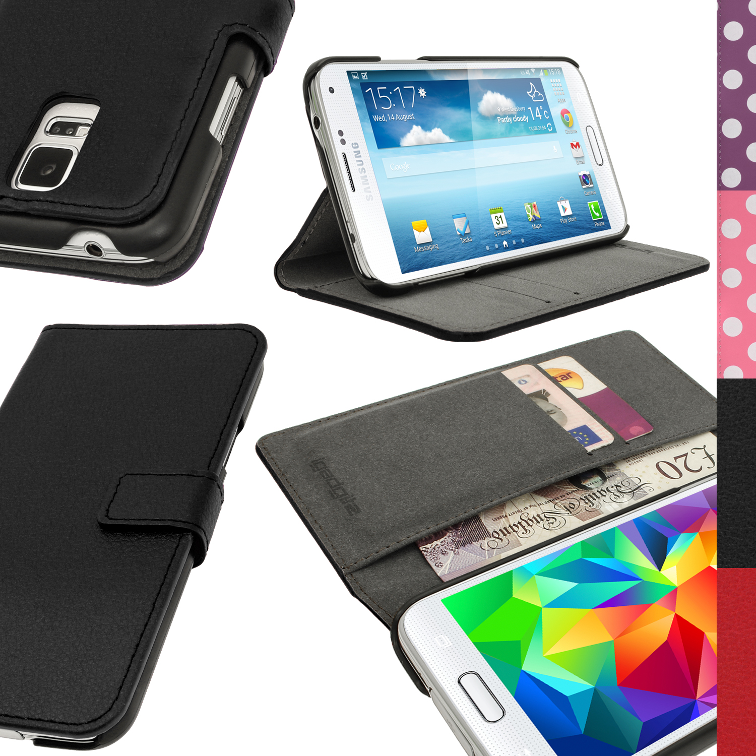 pu leather flip wallet case for samsung galaxy s5 sv sm g900 stand