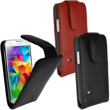 iGadgitz Genuine Leather Flip Case Cover for Samsung Galaxy S5 SV SM-G900 + Screen Protector (various colours) Thumbnail 1