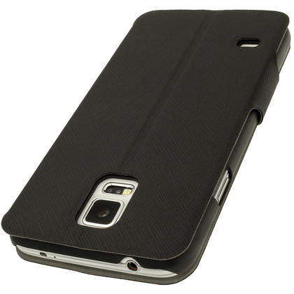 iGadgitz Black PU Leather Slim Flip Case Cover Holder for Samsung Galaxy S5 SV SM-G900 + Screen Protector Thumbnail 2