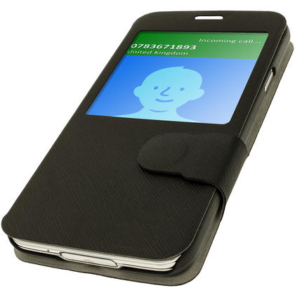 iGadgitz Black PU Leather Slim Flip Case Cover Holder for Samsung Galaxy S5 SV SM-G900 + Screen Protector Thumbnail 3