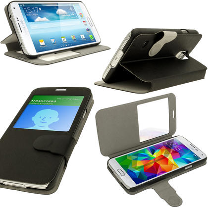 iGadgitz Black PU Leather Slim Flip Case Cover Holder for Samsung Galaxy S5 SV SM-G900 + Screen Protector Thumbnail 1