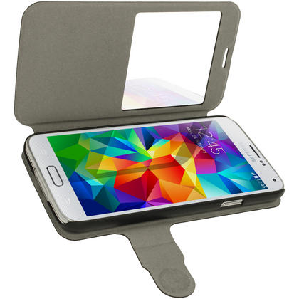 iGadgitz Black PU Leather Slim Flip Case Cover Holder for Samsung Galaxy S5 SV SM-G900 + Screen Protector Thumbnail 4