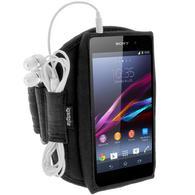 iGadgitz Water Resistant Black Jogging Gym Armband for Sony Xperia Z2 D6503, Sony Xperia Z3 D6603, Sony Xperia Z3+ E6553