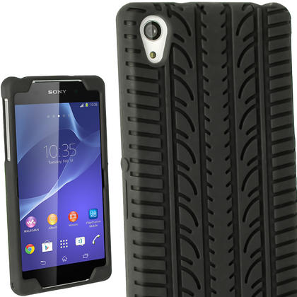 iGadgitz Black Tyre Skin Silicone Case Cover for Sony Xperia Z2 D6503 D6502 D6543 + Screen Protector Thumbnail 1