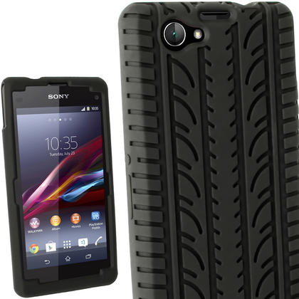 iGadgitz Black Tyre Skin Silicone Case Cover for Sony Xperia Z1 Compact D5503 + Screen Protector Thumbnail 1