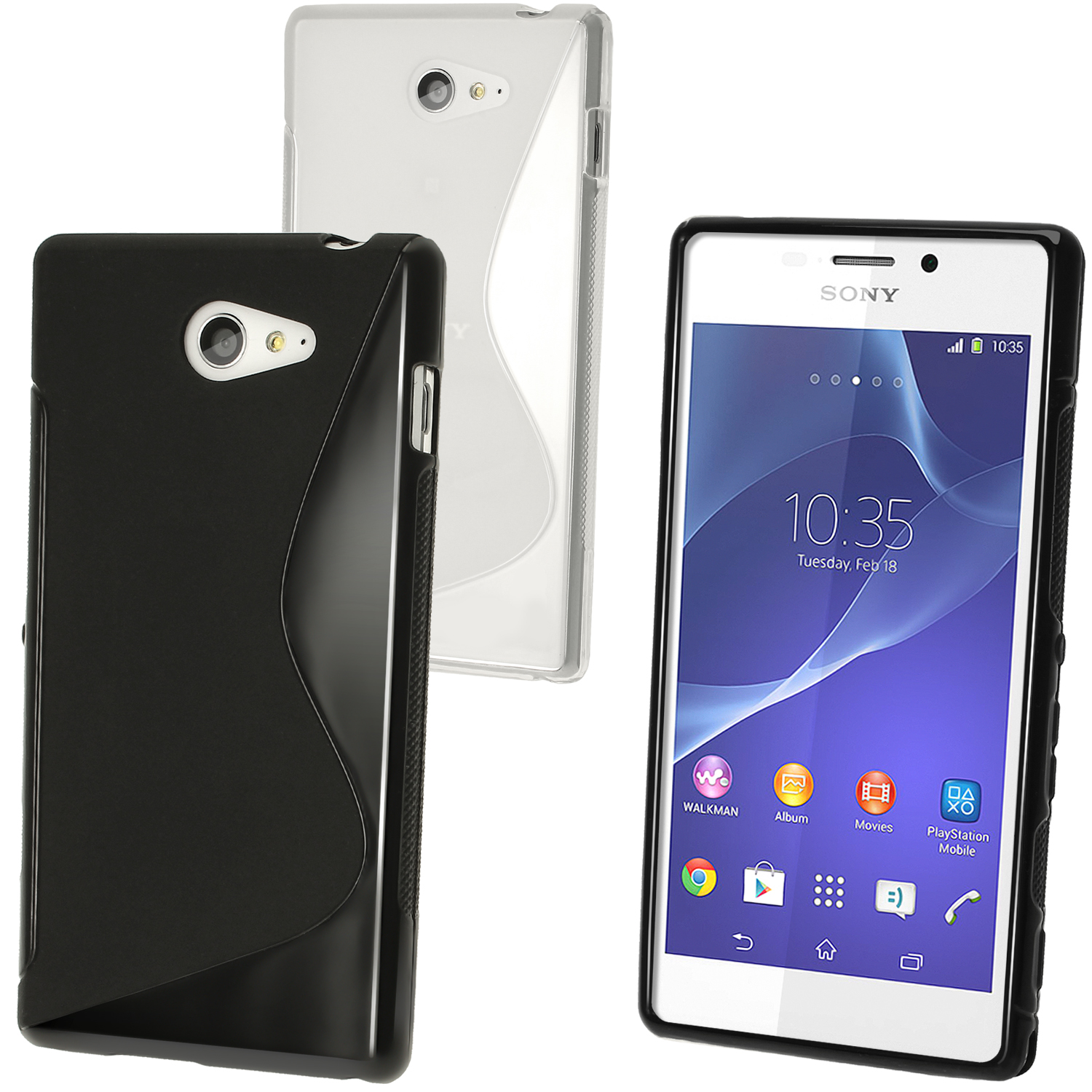 iGadgitz S-Line TPU Gel Case for Sony Xperia M2 D2303 D2305 D2306 + Screen Protector (various colours)