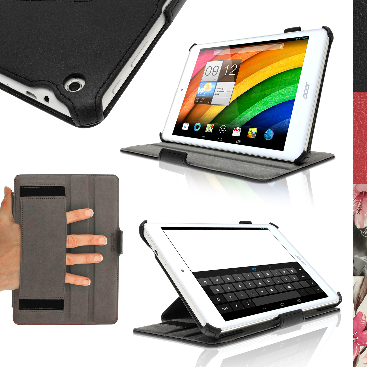 """iGadgitz PU Leather Skin Case Cover for Acer Iconia A1-830 7.9"""" Folio Stand + Hand Strap (various colours)"""