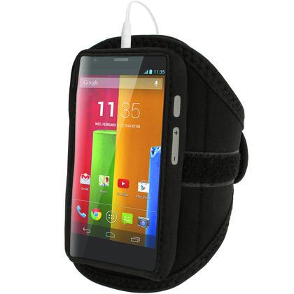 iGadgitz Black Running Jogging Sports Armband for Motorola Moto G X E Case Cover Fitness Gym Thumbnail 2