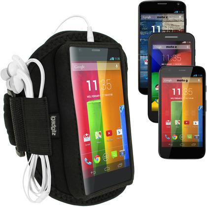 iGadgitz Black Running Jogging Sports Armband for Motorola Moto G X E Case Cover Fitness Gym Thumbnail 1