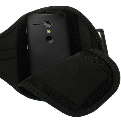 iGadgitz Black Running Jogging Sports Armband for Motorola Moto G X E Case Cover Fitness Gym Thumbnail 3