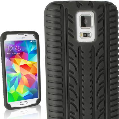 iGadgitz Black Tyre Skin Silicone Case Cover for Samsung Galaxy S5 SV SM-G900 SM-G900F SM-G900H + Screen Protector