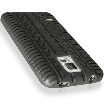 iGadgitz Black Tyre Skin Silicone Case Cover for Samsung Galaxy S5 SV SM-G900 SM-G900F SM-G900H + Screen Protector Thumbnail 4