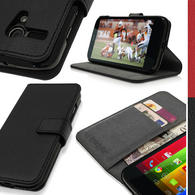 iGadgitz PU Leather Wallet Case with Card Slots & Stand for Motorola Moto G 4G 1st Gen XT1032 XT1033 + Screen Protector