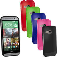 iGadgitz Glossy TPU Gel Case Cover for HTC One MINI 2 2014 + Screen Protector (various colours)