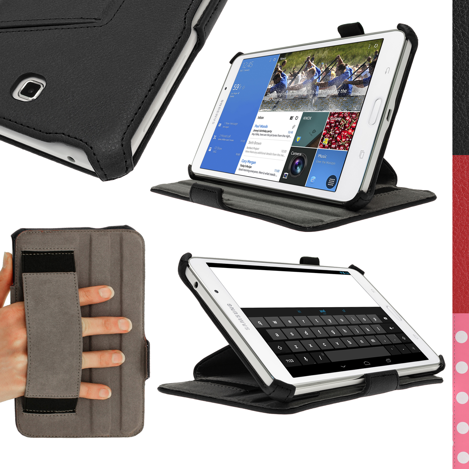 timeless design 2f434 78622 Details about PU Leather Stand Folio Case for Samsung Galaxy Tab 4 8