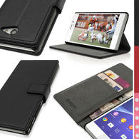 iGadgitz Black PU Leather Wallet Case with Card Slots & Stand for Sony Xperia M2 D2303 D2305 D2306 + Screen Prot