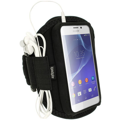 iGadgitz Black Sports Gym Running Armband for Sony Xperia M2 D2303 Thumbnail 1