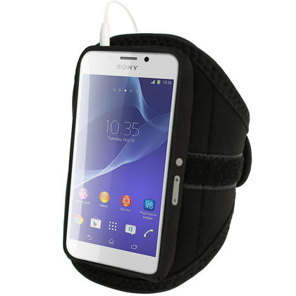 iGadgitz Black Sports Gym Running Armband for Sony Xperia M2 D2303 Thumbnail 2