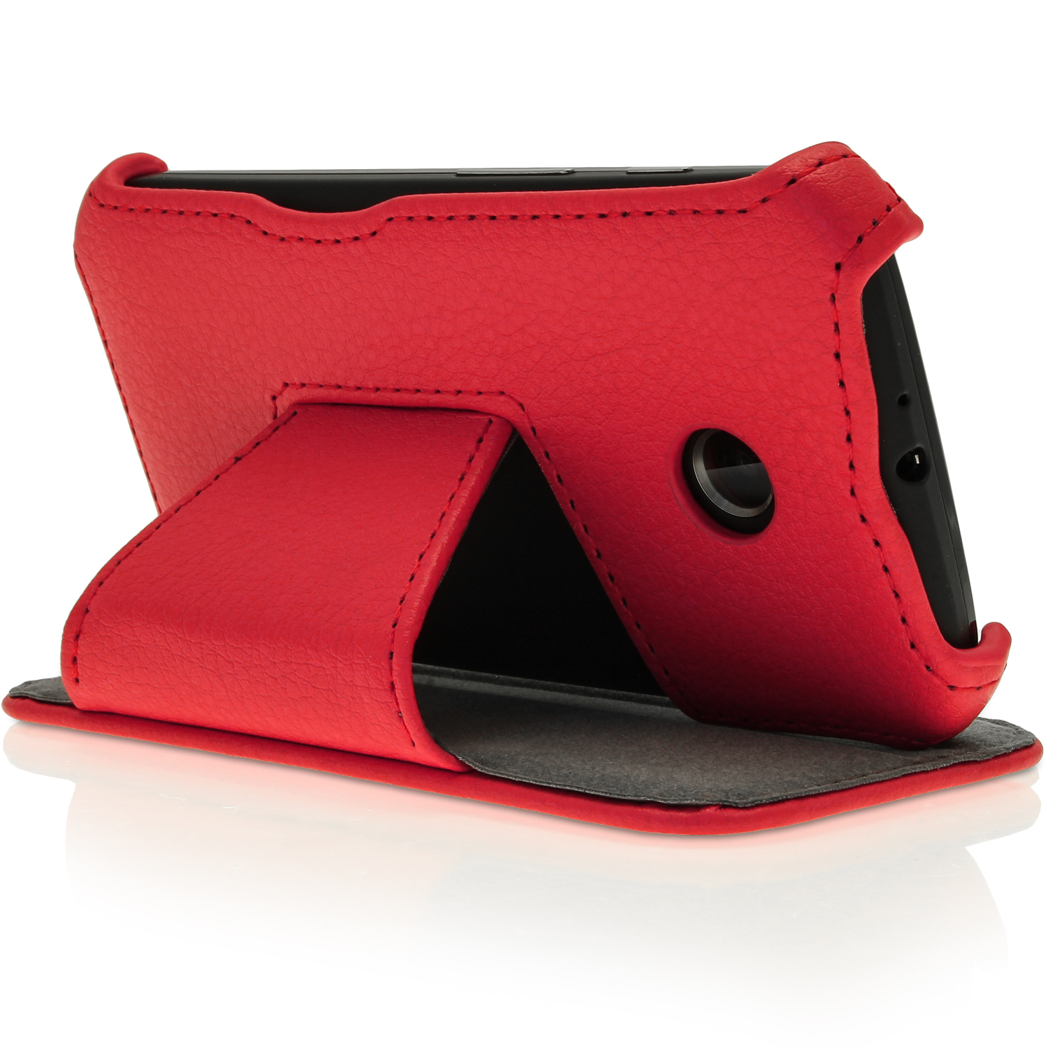 pu leather skin flip case for motorola moto e folio book stand