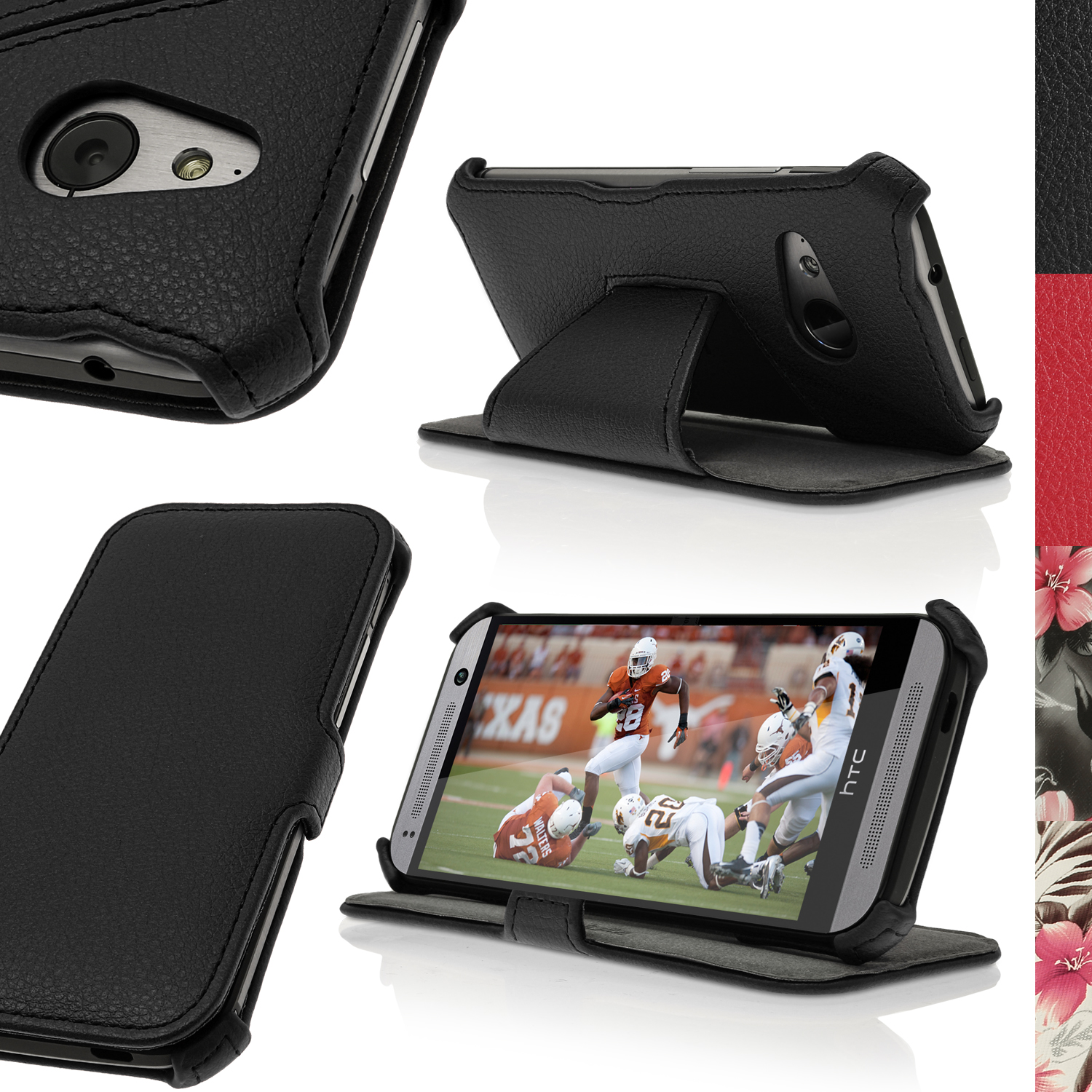 iGadgitz PU Leather Case for HTC One MINI 2 2014 with Viewing Stand + Screen Protector (various colours)