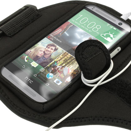 iGadgitz Water Resistant Black Sports Jogging Gym Armband for HTC One MINI 2 2014 Thumbnail 2