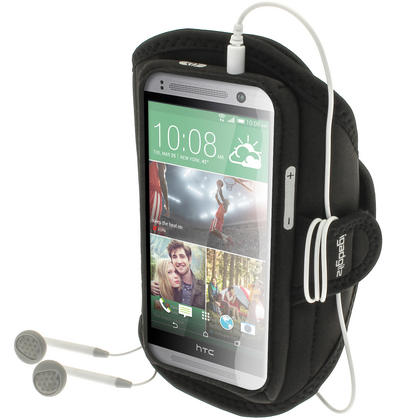 iGadgitz Water Resistant Black Sports Jogging Gym Armband for HTC One MINI 2 2014 Thumbnail 1
