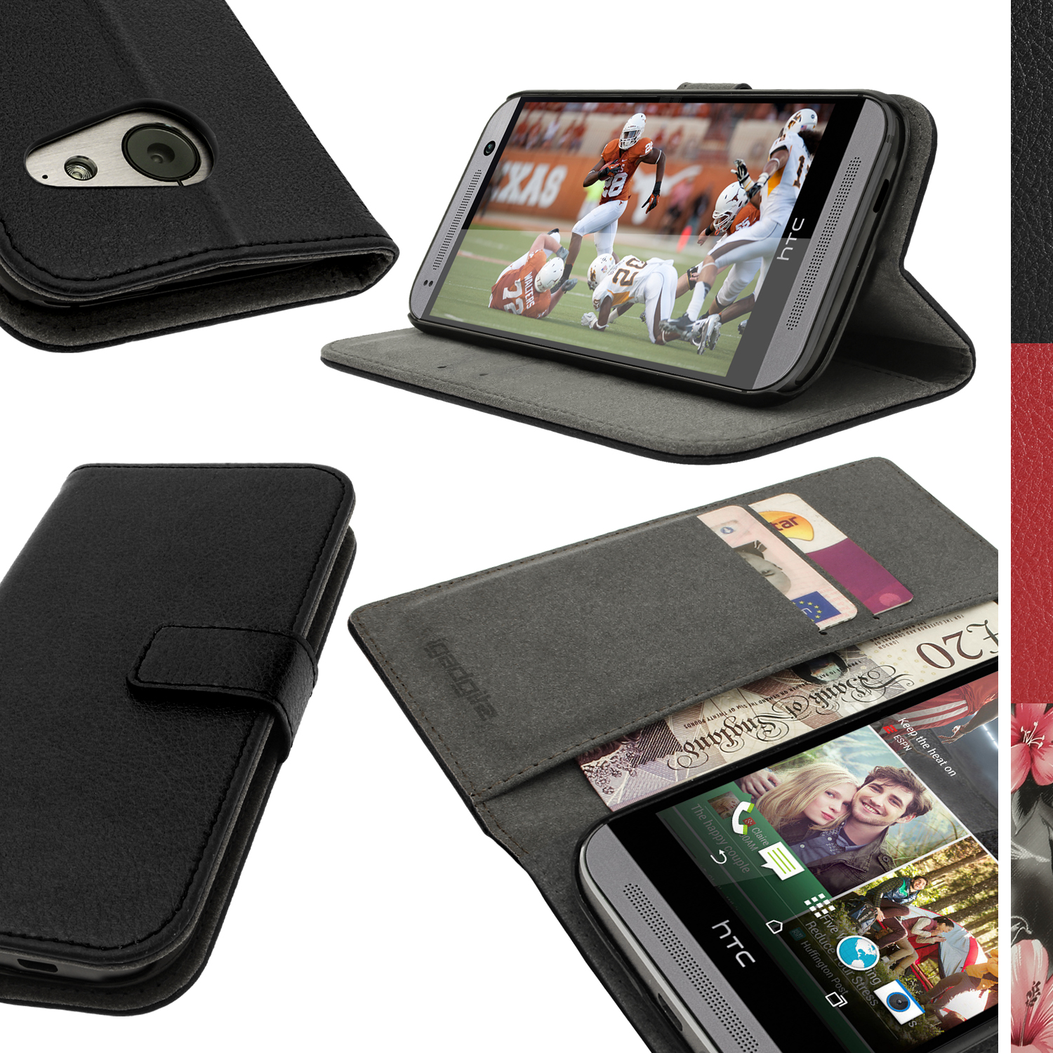 iGadgitz Black PU Leather Wallet Case for HTC One MINI 2 2014 with Card Slots, Stand, Hand Strap + Screen Protector