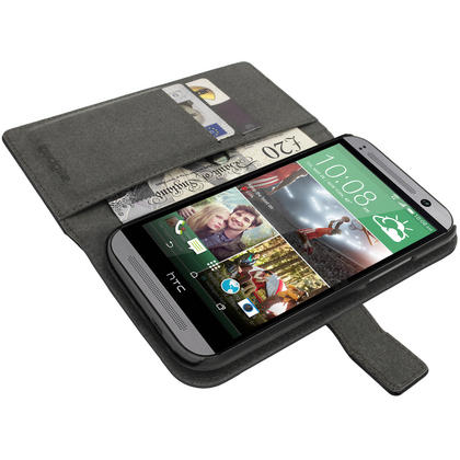 iGadgitz Black PU Leather Wallet Case for HTC One MINI 2 2014 with Card Slots, Stand, Hand Strap + Screen Protector Thumbnail 4
