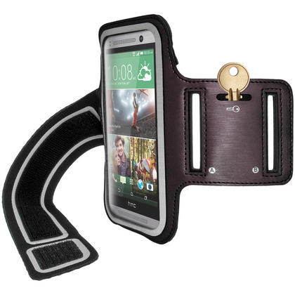 iGadgitz Reflective Anti-Slip Sports Jogging Gym Armband for HTC One MINI 2 2014 with Key Slot (various colours) Thumbnail 3