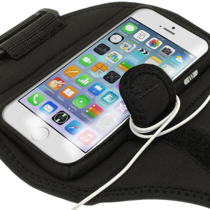 """iGadgitz Water Resistant Black Sports Jogging Gym Armband for Apple iPhone 6 & 6S 4.7"""" Thumbnail 2"""